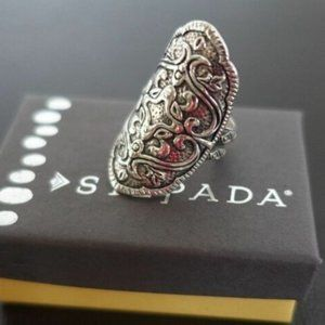 RARE Helen of Troy Shield Oxidized Sterling Silver ring size 6 (R2809)